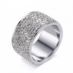 Inel Excellence - inox si cristale Cubic Zirconia