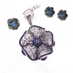Set bijuterii Vintage Blue Flower - argint antichizat si cristale