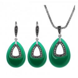 Set bijuterii Green Drop - argint antichizat si cristale