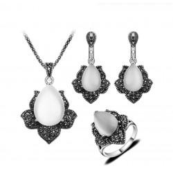 Set bijuterii Vintage Opal - argint antichizat si cristale