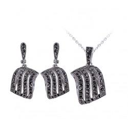 Set bijuterii Octavia - argint antichizat si cristale
