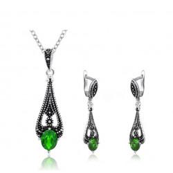 Set bijuterii Larisse - argint antichizat si cristale