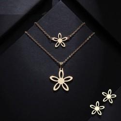 Set bijuterii Flower - inox