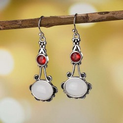 Cercei Boho White Oval - argint si cristale
