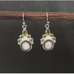 Cercei Boho Green Stones - argint si cristale