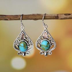 Cercei Boho Blue Stone - argint si cristale