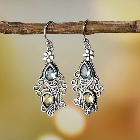Cercei Boho Indian - argint si cristale
