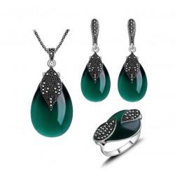 Set bijuterii Green Leaf M2 - argint antichizat si cristale cubic zirconia