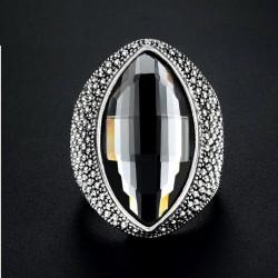 Inel Elliptical - argint si cristale