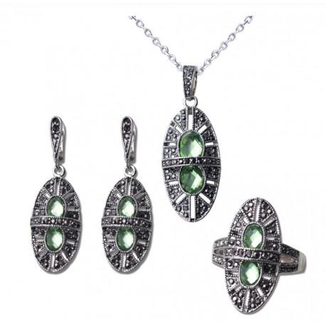 Set bijuterii Elisabeth - argint antichizat si cristale cubic zirconia