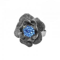 Inel Vintage Blue Flower - argint si cristale