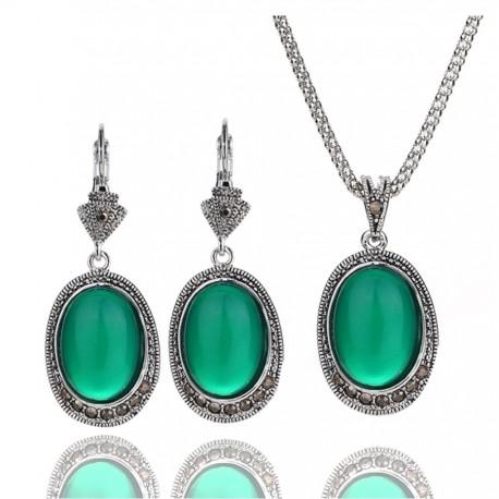 Set bijuterii Green Stones - argint antichizat si cristale