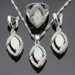Set bijuterii Ashley - argint si opal