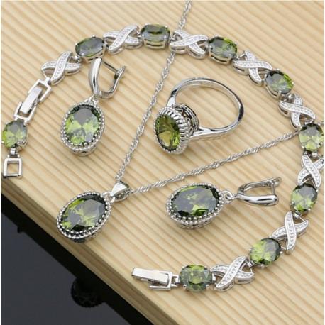 Set bijuterii Successful Peridot - argint si cristale