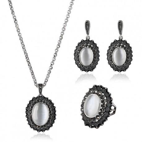 Set bijuterii Lennie - argint antichizat si opal