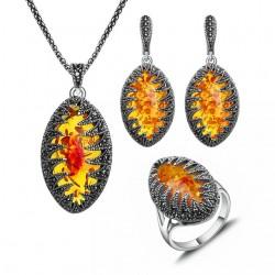 Set bijuterii Evelyn - argint antichizat si agate