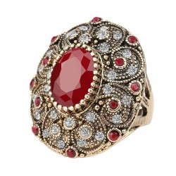 Inel Oval Ruby - aur antichizat si cristale