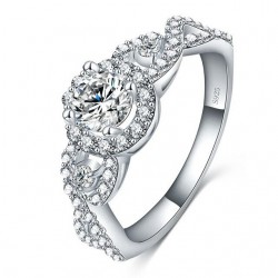 Inel logodna Model 2 - argint 925 si cristale Cubic Zirconia
