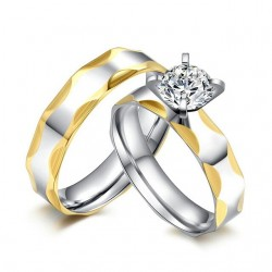 Set verigheta si inel  Model 23 - inox si cristale Cubic Zirconia