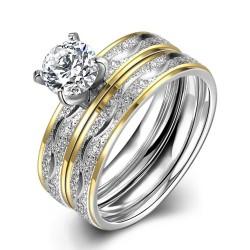 Set verigheta si inel  Model 6 - inox si cristale Cubic Zirconia