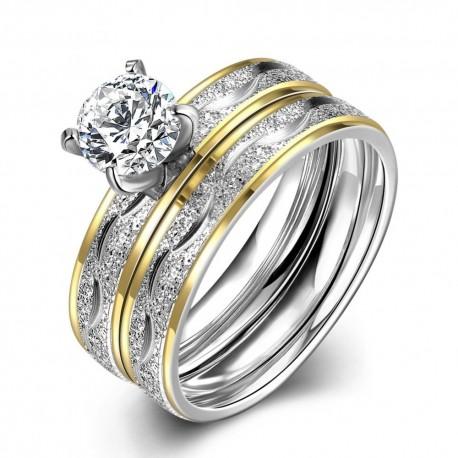 Set Verigheta Si Inel Argint Inox Cristale
