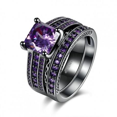 Set verigheta si inel  Model 10 - inox si cristale Cubic Zirconia