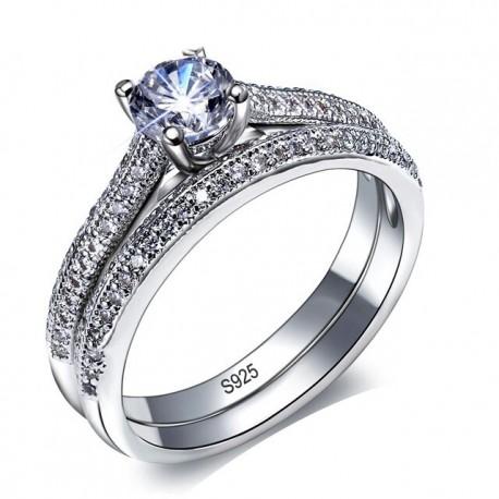 Set verigheta si inel  Model 19 - argint si cristale Cubic Zirconia