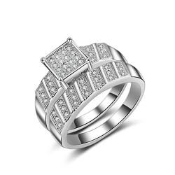 Set verigheta si inel  Model 8 - inox si cristale Cubic Zirconia